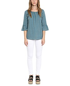 Plus Size Striped Gathered Peasant Top