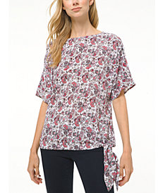 Michael Michael Kors Paisley-Print Tie-Hem Top, Regular & Petite Sizes
