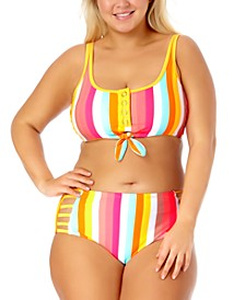 California Waves Trendy Plus Size Printed Bralette Bikini Top & Printed High-Waist Bikini Bottoms