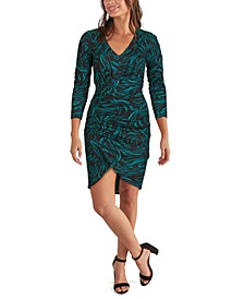 Ruched Animal-Print Bodycon Dress