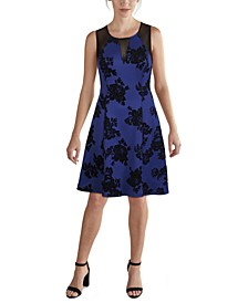 Illusion-Mesh Floral Fit & Flare Dress