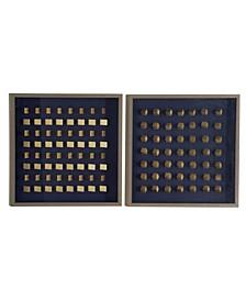 Geometric Woodblocks in Shadowbox, Set of 2