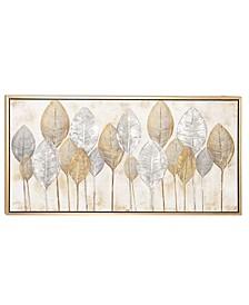 Large, Rectangular Leaves Acrylic Painting Wall Art