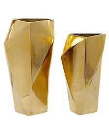 Large Modern Geometric Metal Vases, Set of 2