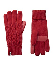 Women's Lined Cable Knit Touch Screen Gloves