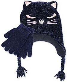 Big Girls Chenille Kitty Trapper Hat and Gloves Set, 2 Piece Set