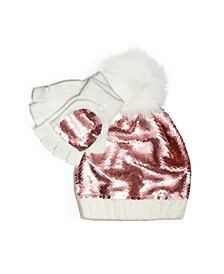 Big Girls Reversible Sequins Beanie and Gloves Set, 2 Piece Set
