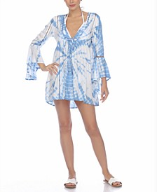 Tie-Dye Bell-Sleeve Cover-Up Dress