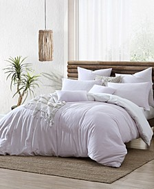 Ultra Soft Valatie Cotton Garment Washed Dyed Reversible 3 Piece Duvet Cover Set, Full/Queen