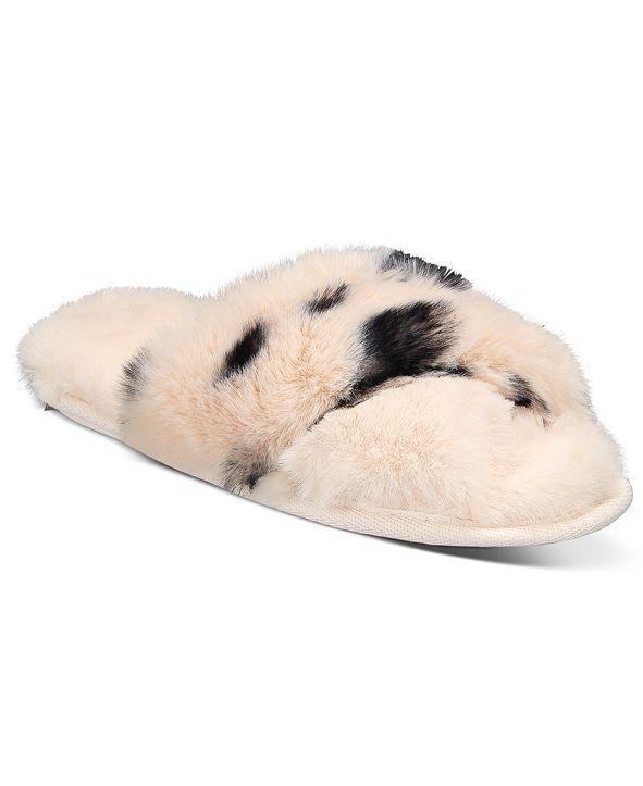 Jenni Animal Print Faux-Fur Crossband Slipper
