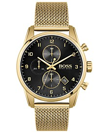 HUGO Men's Skymaster Gold-Tone Stainless Steel Mesh Bracelet 44mm