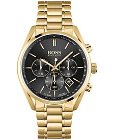 HUGO Men's Chronograph Champion Gold-Tone Stainless Steel Bracelet Watch 44mm