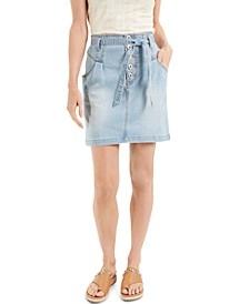 INC Tie-Waist Denim Mini Skirt, Created for Macy's