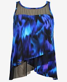 Plus Size Nuage Bleu Mirage Underwire Tankini Top