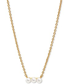 """18k Gold-Plated Imitation Pearl Trio Bar Statement Necklace, 16"""" + 2"""" extender"""