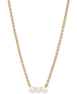 18k Gold-Plated Imitation Pearl Trio Bar Statement Necklace
