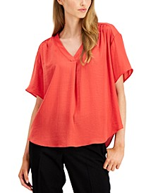 Shirred V-Neck Dolman-Sleeve Top, Created for Macy's