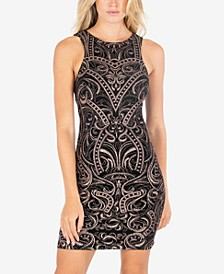Juniors' Glitter-Printed Bodycon Dress