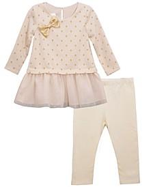 Toddler Girls 2 Piece Foiled Dot Knit Top and Legging Set