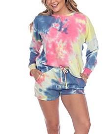 Women's Tie Dye Lounge Top Shorts Set, 2-Piece