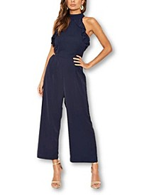 Women's Frilled Cut Out Culotte Jumpsuit