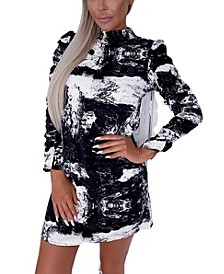 Women's Printed Ruched Sleeve Shift Dress
