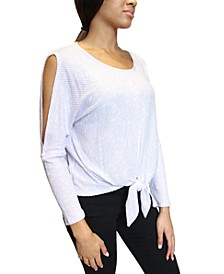 Juniors Cold-Shoulder Tie-Front Top