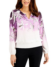 Havana Bay Printed Smocked Top, Created for Macy's