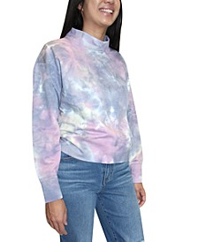 Juniors Tie-Dyed Mock Neck Sweatshirt