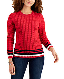 Tommy Hilfiger Cotton Tipped Cable-Knit Sweater