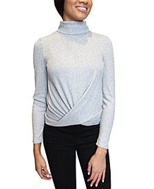 Juniors Turtleneck Twisted-Hem Top