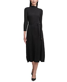 Ribbed-Knit Belted Sweater Dress