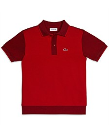 Big Boys Short Sleeve Cotton Petit Pique Color block Polo Shirt
