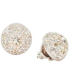 Crystal Flower Dome Stud Earrings