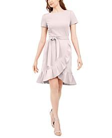 Petite Ruffled Tulip-Hem Crepe Dress