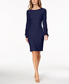 Chiffon-Bell-Sleeve Sheath Dress