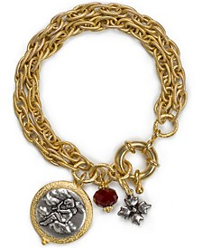 Two-Tone Cherub Charm Double-Row Bracelet