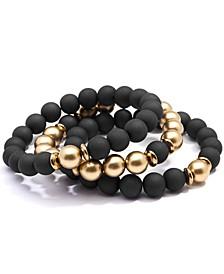Gold-Tone 3-Pc. Set Metallic & Matte Beaded Stretch Bracelets