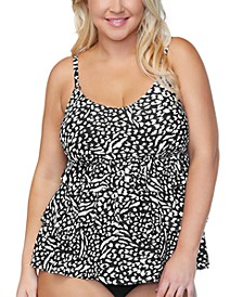 Plus Size Tiered Underwire Tankini Top, Created for Macys