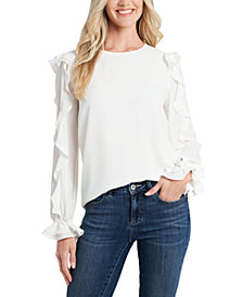 CeCe Ruffled-Sleeve Crewneck Blouse
