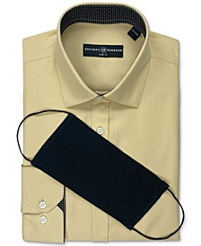 Men's Slim-Fit Non-Iron Performance Stretch Khaki Solid Dress Shirt and Mask