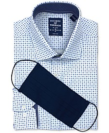 Men's Slim-Fit Non-Iron Performance Stretch White/Navy Dress Shirt and Mask