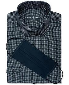 Men's Slim-Fit Non-Iron Performance Stretch Black Geo Print Dress Shirt and Mask