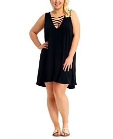 California Waves Trendy Plus Size Strappy Cover-Up Dress