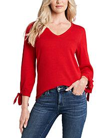 CeCe Tie-Sleeve V-Neck Sweater