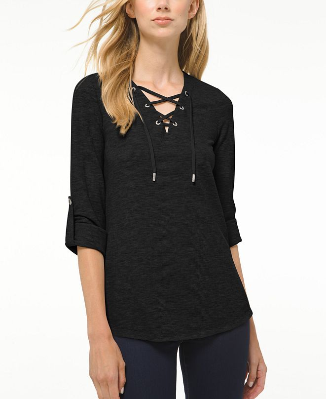 Michael Kors Plus Size Waffle-Knit Lace-Up Tunic