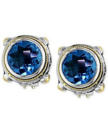 Balissima by EFFY® Blue Topaz Round Stud Earrings (7-5/8 ct. t.w.) in 18k Gold and Sterling Silver