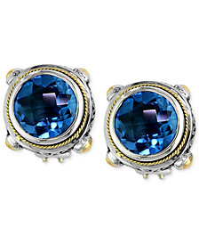 Balissima by EFFY Blue Topaz Round Stud Earrings (7-5/8 ct. t.w.) in 18k Gold and Sterling Silver