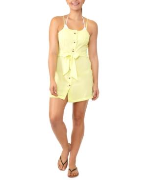 Juniors' Tie-Waist Button-Front Cover-Up Dress