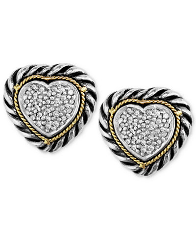 Balissima by EFFY Diamond Cable Heart Stud Earrings (1/5 ct. t.w.) in Sterling Silver and 18k Gold